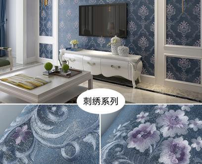 刺绣系列高端墙布装修